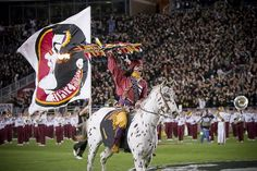 Osceola and Renegade are the official symbols of the Florida State University Seminoles. During home football games at Florida State, Osceola, portraying the Seminole leader Osceola, charges down the field at Bobby Bowden Field at Doak Campbell Stadium riding an appaloosa horse named Renegade, and hurls a burning spear at midfield to begin every home game.