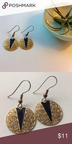 Gold filigree earrings with black enamel triangle. Gorgeous delicate earrings with gold filigree and a black enamel triangle detail. Never been worn. NWOT. Jewelry Earrings