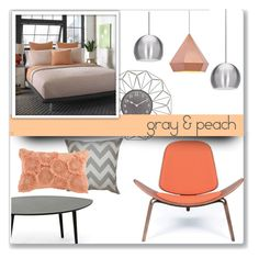 """Gray & Peach"" by overstock ❤ liked on Polyvore featuring interior, interiors, interior design, home, home decor, interior decorating, Sterling Home, Harbor House, Home and homedecor"