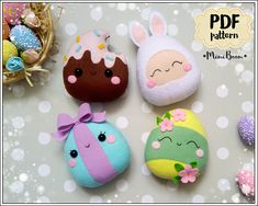 This is a digital tutorial on how to make the 4 Easter eggs from felt THIS IS NOT A FINISHED TOY. THIS IS A PDF PATTERN DOWNLOAD. All needed materials you must to purchase yourself. Approx. size of finished toys: - Easter egg in bunny costume - about 4.9 inch (12.5 cm) tall - floral Easter
