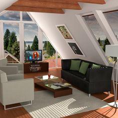 aménagement de combles, un joli salon avec sol en planchers, murs en verre sous pente
