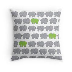 3 Little Elephants - Throw Pillow Cover - Grey & Lime Green - http://annumar.com/en/designs/3-little-elephants-throw-pillow-cover-grey-lime-green