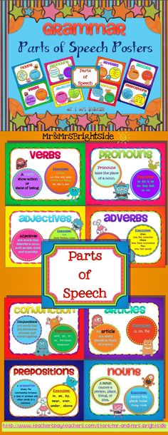 Parts of Speech: grammar posters with a colorful monster theme !! $