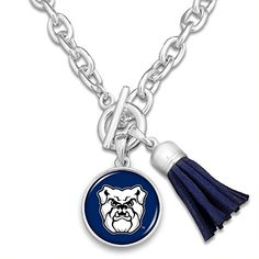 FTH Butler Bulldogs Silver Tone Logo and Tassel Necklace Butler Bulldogs, Butler University, Amazon Fulfillment Center, Leather Tassel, Tassel Necklace, Tassels, Logo, Silver, Clothes