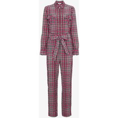 Ganni Charron Checked Jumpsuit ($350) ❤ liked on Polyvore featuring jumpsuits, colorful jumpsuit, multi color jumpsuit, ganni jumpsuit, ganni and multi colored jumpsuit