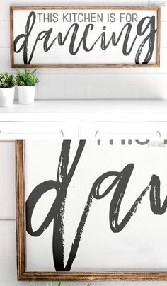 The kitchen is for dancing farmhouse sign. Rustic decor #aff
