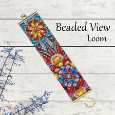 Loom Bead Pattern, Beading Pattern, Flower Bracelet Pattern, Flower Bead Pattern, Abstract Flowers Bead Pattern. Bead Loom Pattern PDF bd090