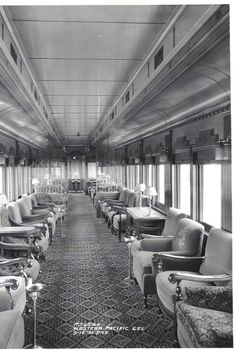 Interior view showing the arm chairs and lavish furnishings of a Pullman observation car built for the Western Pacific Railroad. May 16, 1931.