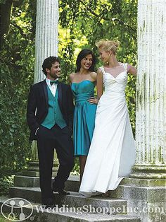 Allure Bridesmaid Dress 1212- that wedding dress, with eyelet cotton... And that bridesmaids dress, a little more minty.... Yes.