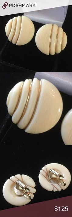 Vintage Ivory Clip On Earrings Found these at an estate sale,  vintage Genuine Ivory not whale or Ox bone.  These are circa  1940's or 50's before laws were in place to protect against poaching of African wild animals.  I am mindful these are rare and unusual to find. Vintage Estate Jewelry