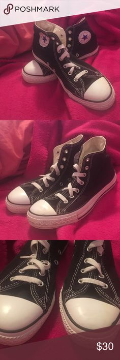 High top Chucks Black high top Converse Chuck Taylor All Stars. Only worn a handful of times. Slight signs of use on inward facing part of shoe as shown in last picture. Can't even notice this when they're on. Overall still in nice condition and clean. They say size 3 so this would be equal to a Women's size 5. Converse Shoes