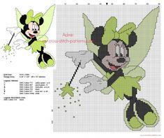 Minnie Fée Clochette robe verte grille point de croix