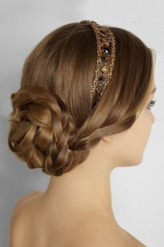 Cool braided bridal bun with bejeweled headband; great for bridesmaids too