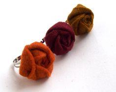 Kettőt fizet hármat vihet filc rózsa gyűrű csomag meleg színekben, Ékszer, óra, Gyűrű, Meska