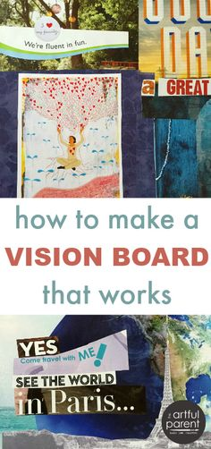 How to make a vision board that works using magazine images and words. A ten step tutorial from brainstorming & goal setting through creating vision boards. via Artful Parent Creating A Vision Board, Believe, Art Therapy Activities, Time Activities, Images And Words, Web Images, Life Quotes Love, Scrapbook, To Infinity And Beyond
