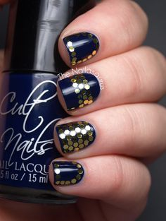 Blue Nails with Gold Hex Glitter Designs
