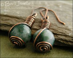 Faceted jade and antiqued copper rosebud knot wrap earrings