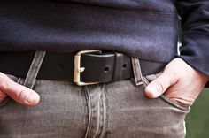 www.877workshop.com — Men's Navy belt black leather with brass buckle