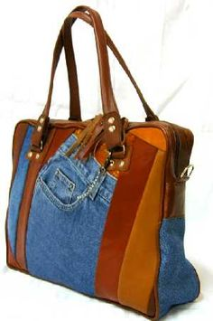 Jean recycle patchwork hand bag by Pana