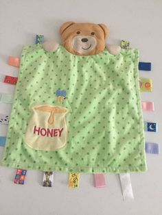 "Taggies Teddy Bear Honey Pot Baby Lovey Security Blanket Green Polka Dot 13""   eBay"