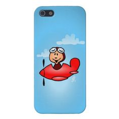A pilot in his red airplane on covers For iPhone 5. #Zazzle #Cardvibes #Tekenaartje $38.10