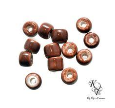 Glazed Beads, 11 Pieces Glazed Porcelain Beads, Brown Beads, Porcelain Beads, Porcelain Rondelle Beads, Jewelry Supplies