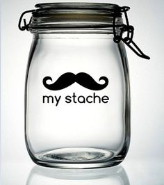 My Stache Mustache Moustache Glass Money Jar Piggy by meandmy3boys. $4.50 USD, via Etsy.