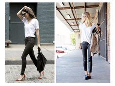 Кожаные брюки с футболкой