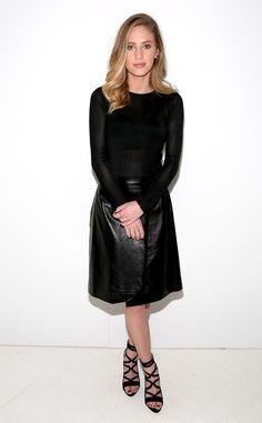 Dylan Penn from Stars at New York Fashion Week Fall 2015  The model rocks a polished all-black ensemble at the Jill Stuart show.