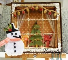 Inside looking out- pipe cleaners for window, Christmas lights somehow, Christmas trees with paper, snow on ground with cotton balls, snowman with halved Styrofoam balls, snow in sky by rolling ball around in paint