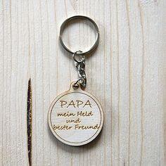 Schlüsselanhänger (Papa mein Held…)     GUFRU Held, Personalized Items, Glass Beads
