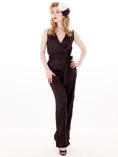 Vintage Black Satin Hollywood Pyjama Top. Shop online.