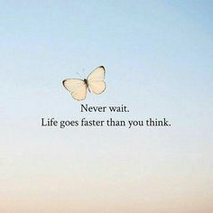 Positive Quotes : Never wait. Life goes faster than you think. Positive Quotes : Never wait. Life goes faster than you think.Positive Quotes : Never wait. Life goes faster than you think. Wisdom Quotes, True Quotes, Words Quotes, Quotes To Live By, Motivational Quotes, Life Is Short Quotes, Sayings, Qoutes, Best Positive Quotes
