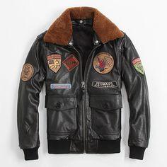 20168 New Men s Black Leather Pilot Jacket Wool Collar Genuine Coarse Grain  Sheepskin Male Short Slim Fit Aviator Winter Jackets 8998a07d76