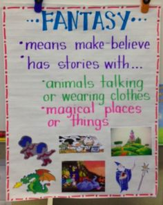 Anchor chart that could be modified into a cut and paste from magazines; find pictures of make believe