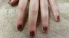 CND Shellac holiday nails with gold glitter by Jill G.