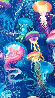 Colorful Jellyfish artwork painting - they remind me of Chinese Lanterns floating upward Jellyfish Art, Colorful Jellyfish, Illustration Art, Illustrations, Sea Art, Ocean Creatures, Ocean Life, Art Plastique, Belle Photo