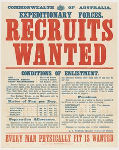 Recruits wanted / WWI enlistment poster from the collection of the State Library of NSW. To order an archival print of this image call the Library Shop on 61 2 9273 1611 quoting order number a8562001