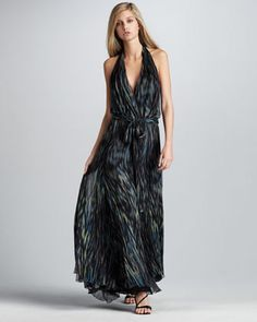 Printed Waterfall Gown by Halston Heritage at Neiman Marcus. Not that I go anywhere to actually wear this dress.. but I do love it - DO you think the checkers at the grocery would appreciate me dressing to shop??  lol