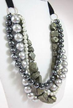 CHAN LUU Gray Black White Faux Pearl Stone Strand Chunky Layered Necklace $89 at www.ShopLindasStuff.com