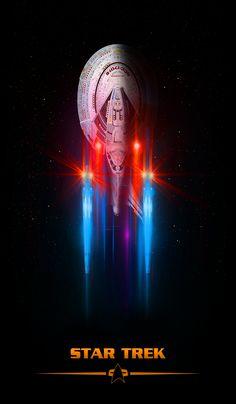 Star Trek, by Lewis Niven Nave Enterprise, Star Trek Enterprise, Star Trek Voyager, Vaisseau Star Trek, Science Fiction, Star Trek Wallpaper, Star Trek Posters, Asgard, Star Trek Characters