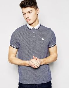 Bellfield Polo Shirt with All Over Jacquard