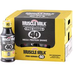CytoSport  RTD Muscle Milk Pro 40 Series Go Bananas 14 oz 12 ct | $62.99 | OvernightSupplements.com | #onSale #supplements #specials #CytoSport #ProteinRTDs  | Muscle Milk Pro Series 40Contains No Milk Includes Milk ProteinsMega Protein Shake 220 Calories 40g Lean Protein 20 Vitamins and Minerals Gluten Free These statements have not been evaluated by the FDA This product is not intended to diagnose treat cure or prevent any disease