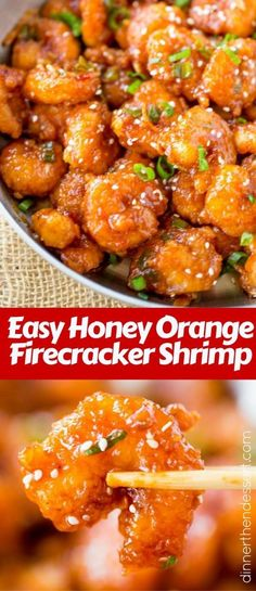 Honey Orange Firecracker Shrimp is sweet, spicy, sticky and crispy and so easy to make you'll throw your Chinese food takeout menus away! chicken recipe easy chinese food Honey Orange Firecracker Shrimp - Dinner, then Dessert Healthy Recipes, Fish Recipes, Seafood Recipes, Asian Recipes, Dinner Recipes, Cooking Recipes, Cooking Tips, Budget Cooking, Seafood Pasta