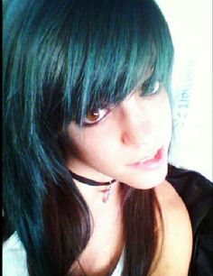 Blue front black back colored hair