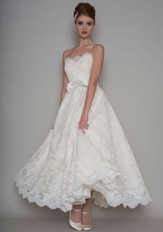 86-posy Strapless tea length vintage style wedding dress
