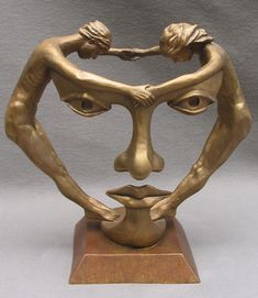 We two together, bronze sculpture by Michael Alfano. A native of New York, he first studied with an emphasis on life-size sculpture from the model. Abstract Sculpture, Bronze Sculpture, Art Sculptures, Rock Sculpture, Sculpture Ideas, Ceramic Sculptures, Illusion Kunst, 3d Art, Art Design