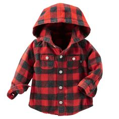 Baby Boy Hooded Flannel Shirt | OshKosh.com
