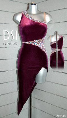 Aliona Vilani burgundy Latin dress