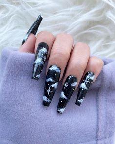 Halloween Acrylic Nails, Bling Acrylic Nails, Acrylic Nails Coffin Short, Simple Acrylic Nails, Best Acrylic Nails, Summer Acrylic Nails, Glue On Nails, Acrylic Nail Designs, Black Nail Designs